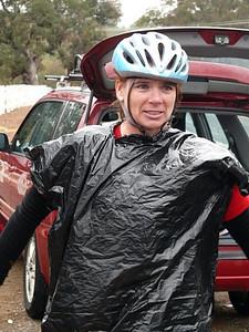 "Veronica falls back on the tried and true waterproof rain wear when her ""water proof jacket"" wasn't."