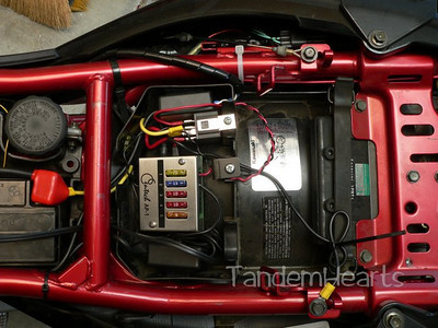 This shows the Centech Ap-1 fuse box, the relay (with the sliver connector), the two heartollers for the grips and the jacket and a lot of wiring.