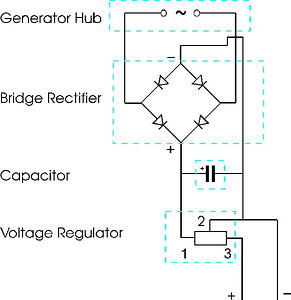 This is the basic circuit diagram. I used a premade rectifier.